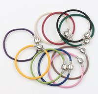Wholesale New Colors Genuine Oxhide Real Leather Charm Silver Pandora Chains Bracelets cm cm cm fit European Beads