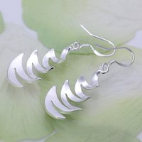 bay plant - Brand new sterling silver Crescent Bay earrings DFMSE203 women s silver Dangle Chandelier earrings pairs a factory direct sale