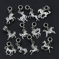 Wholesale New Antique Silver Assorted Horses Alloy Pandora Big Hole Dangle Beads Loose Bead Fit Charm Bracelet Styles