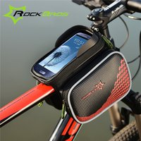 Wholesale ROCKBROS Bike Bicycle Frame Front Head Top Tube Bag Double IPouch Cycling Pannier For inch Smartphone Touch Screen