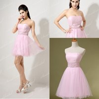 Model Pictures Tulle Strapless Charming Little Pink Real Image Tulle Homecoming Short Prom Dresses Beads A line Cocktail Party Gowns 2014 SSJ Under $50