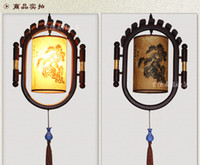 art styles lanterns - Chinese style wooden skin droplight Retro classic porch ceramics creative personality corridor corridor lamps and lanterns