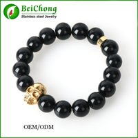 bc products - BC Jewelry New Products Beaded MM Lava stone beads Gold Skull Elastic Bracelets for Men and Women s Gift BC