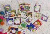 venda por atacado christmas decorative ornaments-Atacado-64 peças mini cartão de Natal Cartões -3.5x5cm Gift Card decorativa Árvore Decoração Pendente do ornamento do Natal