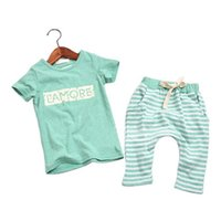 Cheap New Children Clothing Sets Cotton Kids Clothes Summer Style Boys Clothing Letter Baby Boy Clothes O-necK Girls Clothing Set CCT03