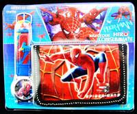 Wholesale despicable me Purse Wallet and Wrist watch sets kids children one direct Spiderman Spider man cartoon quartz pack gift watches