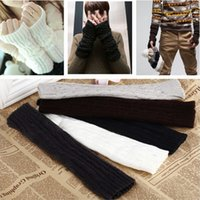 Wholesale 1Pair Hot Sale New Fashion Unisex Autumn Winter Hand Arm Crochet Knit Long Stretchy Fingerless Gloves Warm Colors Free Ship CA02008