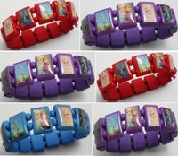 children charm bracelet - 24pcs Frozen Ana Elsa Wood Bracelets Girls Fashion Wristbands Children Party Gift Favor Jewelry