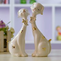Wholesale Plum dog lovers ceramic crafts Ornaments creative fashion figurine the couple gifts Valentine s Day