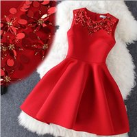 Wholesale The new Autumn and Winter Red Bridal Dress Annual Meeting Space Cotton Sequin Embroidered Dress Trumpet Skirt Swing Vest Dress