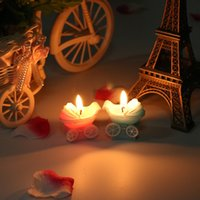 Wholesale Cute Baby Shower Carriages Shape Candle New Born Birthday Supplies Child Gift Cake Decor Paraffin Wax Candle