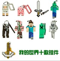 Wholesale 200pcs Free Ship minecraft figure set minecraft hangers minecraft key chains Action Figures Backpack Clips Keychain Keyring Toys