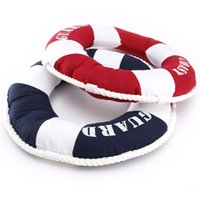 Wholesale 1Pcs Mediterranean Style Decorative Life Ring Shaped Round Cushion Throw Nautical Pillow Novelty Gift For Living Room
