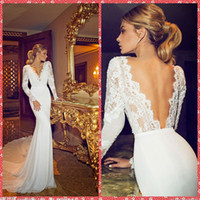 Wholesale V Neck Lace Appliques Mermaid Wedding Dresses Chiffon Chapel Train Long Sleeve Mermaid Beach Bridal Gowns Beautiful Cheap Sale