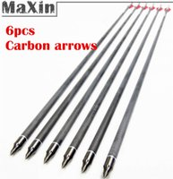 Wholesale 6pcs Full Carbon Arrows Shaft Streamlined Fletched Plastic Feathers with Nock For Long Bow Arrow Archery Accessoties
