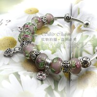 silver925 jewelry - HOT SALE personalised silver925 glass beaded charm bracelets and bangles for women silver jewelry PA3016