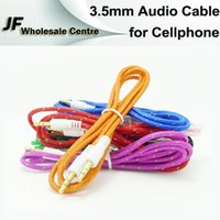 Wholesale 3 mm Male to Male M Braided Fabric Audio AUX Cable Colorful Audio Cable for Smartphone MP3 MP4 Music player