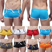 Wholesale 2016 Christmas gift NEW Colors Men Male Swimsuit Swimming Trunks Sport Shorts Slim Sexy Solid Board Boxershorts Underwear WSH0040