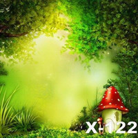 Wholesale 125X150cm spring green natural scenic red mushroom photography backdrop for photos digital cloth vinyl photography background backdrops