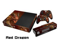 Pegatina protectora roja de la etiqueta del dragón / etiquetas engomadas para los protectores de xbox uno Console + 2 + piel de Kinect