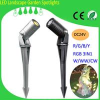 Wholesale 2015 New Fashion Mini Garden Spot Lights LED Chip DC V IP65 RGB in1 Garden LED Lights for Garden Decoration