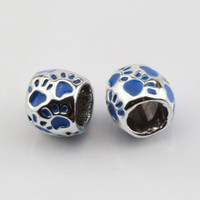 Wholesale Hot Blue Enamel Footprint Large Hole Spacer Beads Fit Bracelet x10mm DIY Jewelry