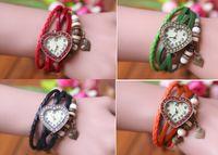 Wholesale 30PCS Retro Quartz Weave Wrap Around Leather Bracelet Bangle Womens Love heart Shape with diamond Girls LADIES Wrist Watch