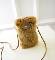 Wholesale 2014 new handbags imitation rabbit fur bag phone package phone sets fashion plush packet free agent