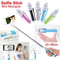 audio control android - Wired Selfie Stick Handheld Extendable mini Monopod With groove Audio Cable Remote Control Selfie monopod For iPhone s Android Smartphone