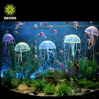 Wholesale hot sale new Multicolor Vivid Glowing Effect Fluorescent Artificial Jellyfish Aquarium Fish Tank Decoration Ornament Swim Pool Bath Decor
