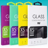 Wholesale 1000ps Colorful Tempered Glass Screen Protector Retail Package Box for Iphone s plus packaging for Samsung S6 Edge Plus Full Cover Glass