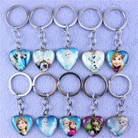 Wholesale Hot sales Frozen Keychain Glass Heart Keychain Aisha Anna Olaf Style Pattern