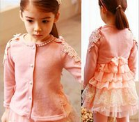beading machine - Baby Girls Clothing Girl Cardigans Long Sleeve Knitwear Lace Beading O neck Solid Color Kids Clothes Sweet Outerwear Coat Sweater