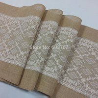 Wholesale Burlap and lace table runner for rustic wedding home banquet