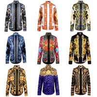 Long Sleeve fabric polyester - New Arrival Brand Royal Style Shirts Fahion Shows Fabric Silk Shirts Men s Long Sleeve polo shirt High Quality Gold Print Shirts