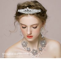 antique diamond tiara - two piece Bridal Accessories Earrings Necklace Tiaras Hair Accessories New style Wedding Jewelry new Diamond Sets