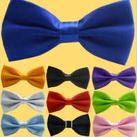 Wholesale 2015 Men s Bow Ties Solid Color Plain Satin Skinny Ties Groom Necktie Silk Jacquard Woven Tie In Stock