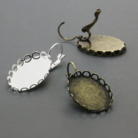 bezels - 100X Silver Plated Antique Bronzed Fishhook Hook Earring Blank w mm Lace Tray for Glass Cabochons Bezels