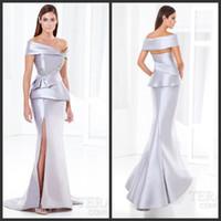 terani - Hot Sale Elegant Mermaid Mother Of The Bride Dresses Terani E3778 Silver Satin Off Shoulder Sleeves Peplum Beads Sequin High Side Split
