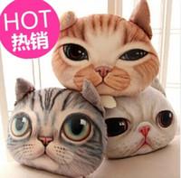 Cheap CP001 Creative 3D Shaped Grumpy Cat Face Design Throw Pillow Plush Cotton Car Cushion Cases Animal Head Shaped Pillow Cartoon Simulation 3D