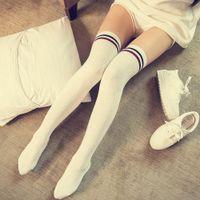 thigh high socks - 1Pair Knit Twist Stripe Cotton Knee Sock Women Warm Thigh High Sports Cheerleader Stockings