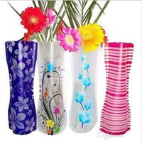 Wholesale Unique Reusable Flower Vases Unbreakable Folding Foldable Plastic PVC Flower Vase Home Decoration Mixed styles order cm cm