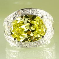 yellow topaz ring - 2015 New Cheap Yellow Jewel Sparkly Lady Ring AR15 Oval Cut Green Amethyst White Topaz Gemstone K Size Platinum Plated Ring