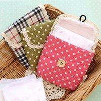 Fabric Sundries Stocked Ann fashion at home fresh polka dot plaid sanitary napkin bag girls sanitary napkin storage