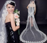 Wholesale 2015 Exquisite Cheap Bridal Veil One Layer Lace Edge Cathedral Length Beads Bridal Veil Wedding Accessories
