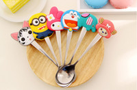 Metal stainless steel spoon - Special Cartoon Stainless Steel Spoon Cute Silicon Handle Colher Children Soup Ladle Fashion Coffee Mixing Spoon