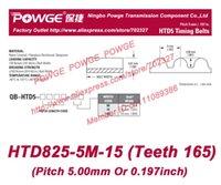 Wholesale 5pcs M Timing belt M teeth Rubber width mm length mm HTD825 M HTD5M Belt HTD825 M Freeshipping