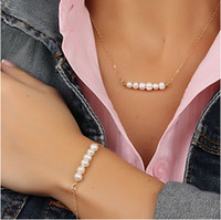 Wholesale Cheap Beads Pearls Necklaces - Fashion jewelry!Contracted pearl (necklace+bracelet) set!beads necklaces charm bracelet,ladies bracelet,cheap jewellery.8 sets 16 pcs.XR