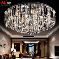 Wholesale Modern circular crystal surface flush mount ceiling lamp stainless steel crystal fashion light fixtures for ceilings modern light covers