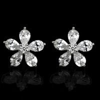 Wholesale 2014 New Arrival mm Five Leaves Flowers Shaped of Alloy Inlay Crystal Zircon Earrings White K Pairs